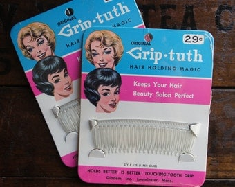 Grip-Tuth Hair Comb ~ 2 Packages NOS ~ Vintage 1950's ~ Clear Plastic Hair Accessories