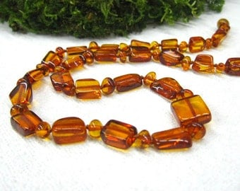 """Natural Honey Amber beaded strand adult necklace 20"""" polished amber rectangular beads Baltic Amber jewelry Christmas gift woman Mothers Day"""