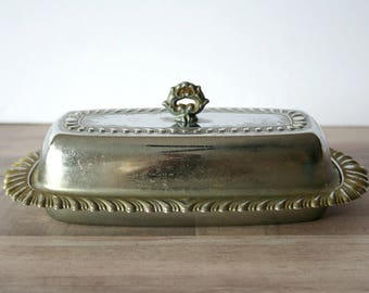 Silver Butter Dish, Vintage Silver Butter Dish, Glass Insert Butter Dish, Vintage Kitchen