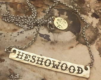 Personalized brass bar necklace - hand stamped
