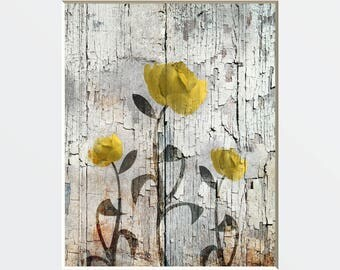 Rustic Country Floral Decor, Yellow Rose, Farmhouse Floral Wall Art, Yellow Decor, 8x10 Print matted to 14x11 White Mat