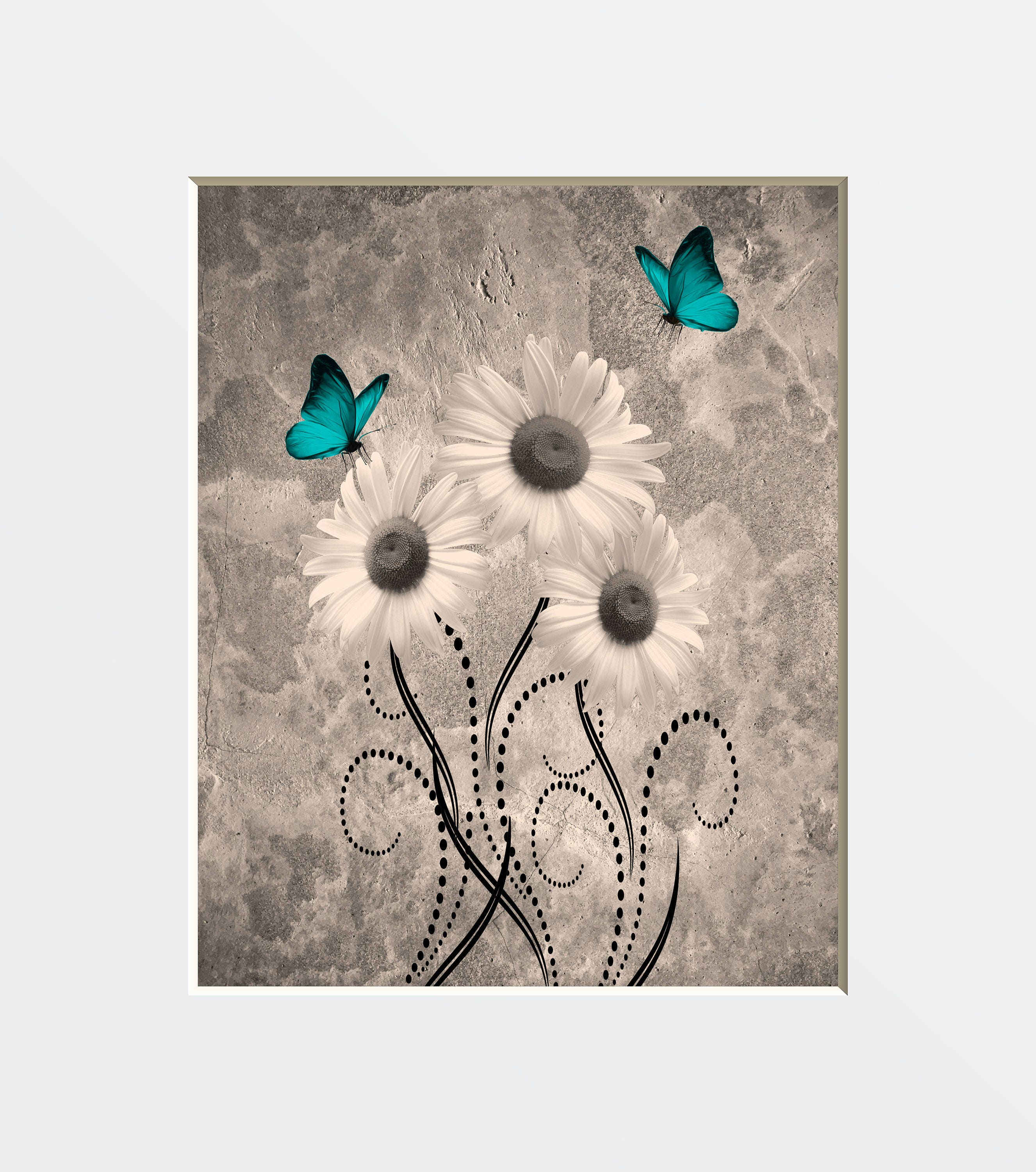 daisy wall art teal brown wall decor daisy flowers. Black Bedroom Furniture Sets. Home Design Ideas