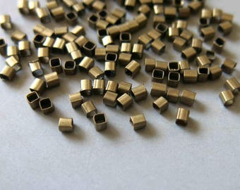 18Grams About 1000pcs Raw Brass Square Tube Beads 2mm - F06