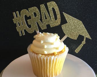 Graduation Cupcake Toppers. Graduation Party Decorations. #grad Decorations. Grad cap Decorations. Graduation Cupcake pick. 2018 Decorations