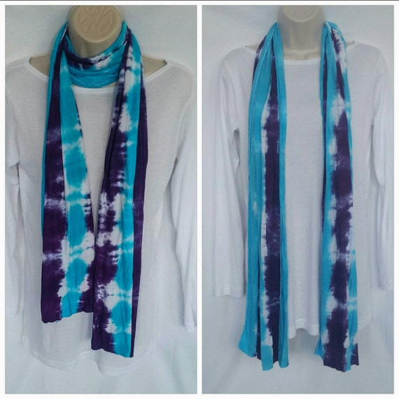 Hand Dyed Tie Dye Scarf in Turquoise & Deep Purple/Womens Tie Dye/Eco-Friendly Dying
