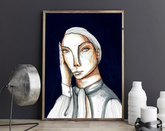 Girl portrait. Navy blue print,Girl portrait, Wall art. Giclée print on archival paper. 40x50 cm Poster. Signed by artist.