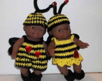 "little miss.  love bumble bee and Mr. bee mine bumble bee  for  5"" to 6"" Berenguer"