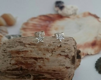Starfish Earrings - Sterling Silver Starfish Studs - Silver Earrings - Hand cut - Handstamped - Sea jewellery - Sealife - Made in England