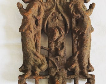 Antique Wrought Iron Angels French Architectural Hardware 1800s one piece