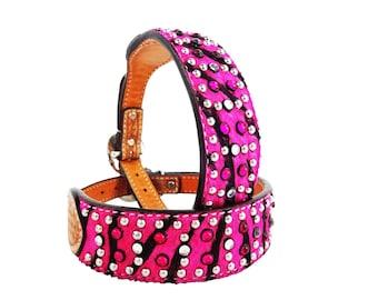 Pink Zebra Pink Bling Leather Dog Collar HandMade Fully Adjustable