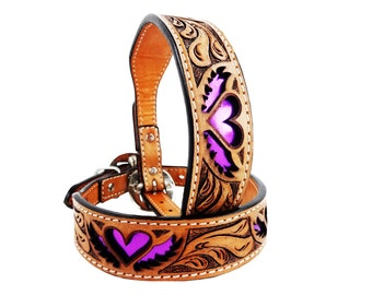 MadcoW Western Style Purple Heart & Wings Canine Leather Dog Collar HandMade Fully Adjustable