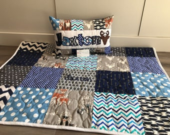 Blue and Grey woodland Art Gallery quilt and pillow set
