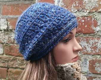 Crochet Slouch beanie . Women's beanie hat .Blue slouch beanie hat . Crochet beanie . Festival beanie hat