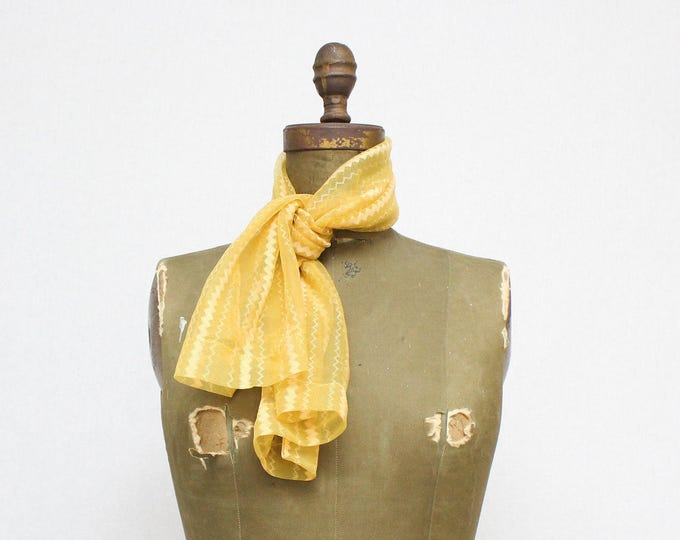 Yellow Chevron Scarf - Vintage 50s Sheer Yellow Printed Scarf
