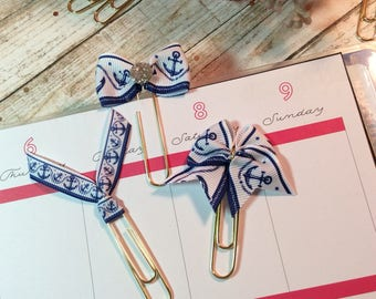 Anchors Away - Set of 2 Ribbon Planner Clips / Bookmarks