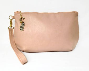 Peach Vegan Leather Clutch With Detachable Wrist Strap, Large Vegan Clutch With Zip Top And Purse Charm, Spring Purse, Vegan Purse