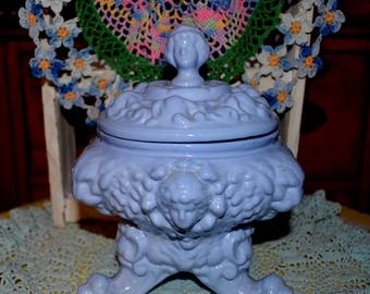 A Lovely Three Footed Blue Cherub Angel Candy Compote Dish