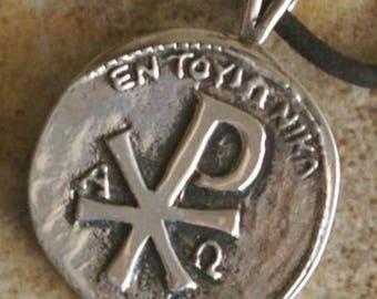 Sterling Silver Chi Rho Cross Pendant C6