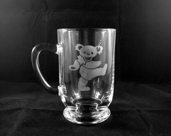 Grateful Dead Hand Etched Coffee Mug | Steal Your Face Dancing Bear