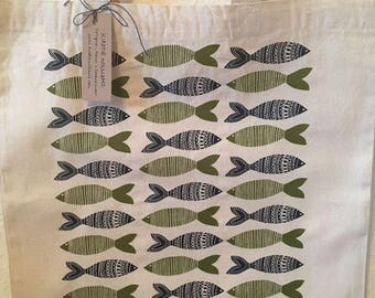 Fish Screen Printed Tote Bag