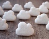 Needle felted CLOUDS. Set of 30 pieces.