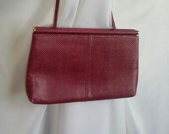 Shop closing Vintage handbag reptile handbag plum pink handbag magenta handbag Reptile skin shoulder bag Saks Fifth Avenue handbag