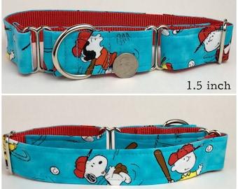 Baseball Snoopy Peanuts dog collar