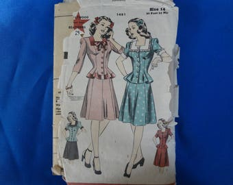 1940s Hollywood Two Piece Dress Pattern size 14 Bust 32 Hip 35