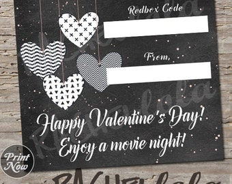 Valentine's day card, Redbox Code, neighbor movie night gift tag, teacher last minute gift, kid printable template, instant digital download