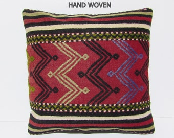 obsolescent kilim pillow 20x20 unisex accent pillow cover turkish pillow case kilim throw pillow rug turkish fabric large pillow case B2086