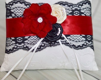 Black Red and Ivory Ring Bearer Pillow