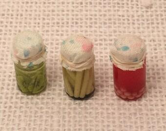 Dollhouse miniature handmade glass jars food set of 3 Fruits and veggies in jar #5