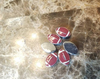 Football floating slider charms (set of 6) for DIY jobs like hair ties, headbands, bracelets and more