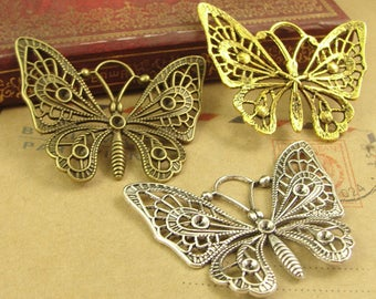 10pcs 47x35mm Antique Bronze Antique Silver Antique Gold Hollow Out Butterfly Charms Pendants Jewelry Findings AH2215