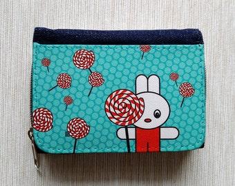 Wallet Purse Jeans Denim Card Holder Cash Coin Pocket Travel Snaps Debit Credit Photo Holder Zip Lollipop Rabbit