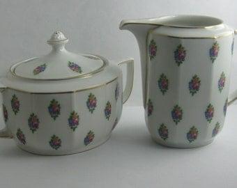 THOMAS (Rosenthal) Bavaria. Original ART DÉCO. Großes Zucker und Milch Set. Porzellan Zuckerdose und Milchkännchen. Um 1920. Vintage