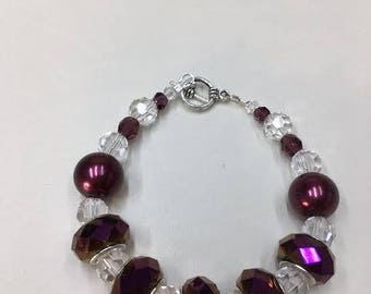 Maroon colored glass beaded bracelet