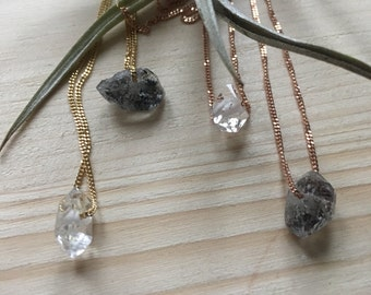 Herkimer diamond necklace, gilded silver in yellow gold or rose gold, 14k, 14 karat, gilded on silver, minimal, minimalist, cristal