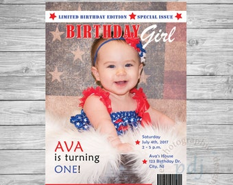 "DIY-Do it Yourself-Personalized 4th of July Magazine 5x7"" Style Invitation!"