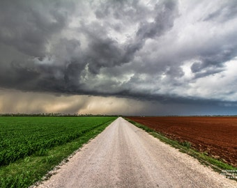 Road Photography, Oklahoma Art, Landscape Prints, Green, Red, White, Storms, Country Picture, Farm Decor, Nature Print, Field, Country Road
