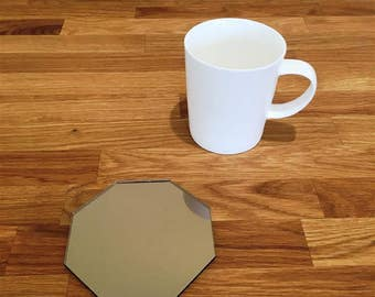 Octagon Shaped Bronze MIrror Finish Acrylic Coasters