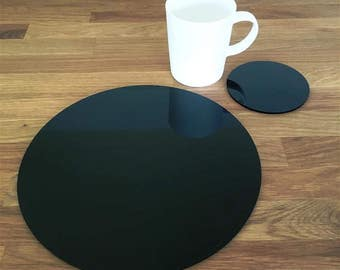 Round Placemats or Placemats & Coasters - in Black Gloss Finish Acrylic 3mm