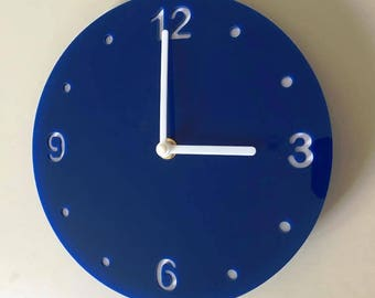 """Round Blue & White Clock - White Acrylic Back, Blue Gloss Finish Acrylic with White hands, Silent Sweep Movement  Sizes 8"""" or 12"""""""