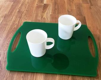 "Rectangle Flat Serving Tray - Green Gloss Finish Acrylic, 3mm Thick 30cm x 40cm 12""x16"""