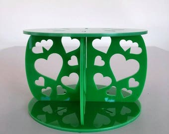 "Hearts Round Bright Green Gloss Acrylic Cake Pillars / Cake Separators, for Wedding / Party Cakes 10cm 4"" High, Size 6"" 7"" 8"" 9"" 10"" 11"" 12"""