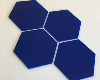 """Blue Gloss Acrylic Hexagon Crafting Mosaic & Wall Tiles, Sizes: 1cm to 20cm - 1"""" to 7.9"""""""