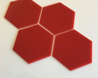 "Red Gloss Acrylic Hexagon Crafting Mosaic & Wall Tiles, Sizes: 1cm to 20cm - 1"" to 7.9"""