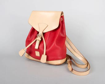 Vintage Backpack | DOONEY and BOURKE All Weather Leather Red Tan Small Drawstring Bucket Bag Backpack