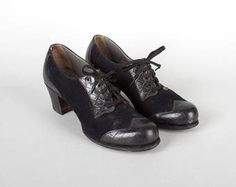 Vintage 1940s Shoes | 40s Black Leather Suede Oxford Spectator Lace Up Heels (womens size 8)