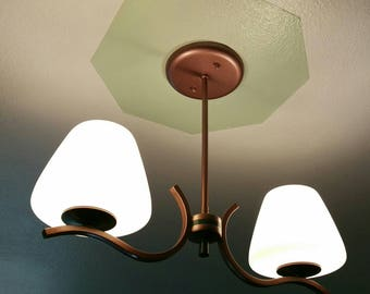Mid-century 2 bulbs Hanging light fixtures with 2 beautiful glass shades